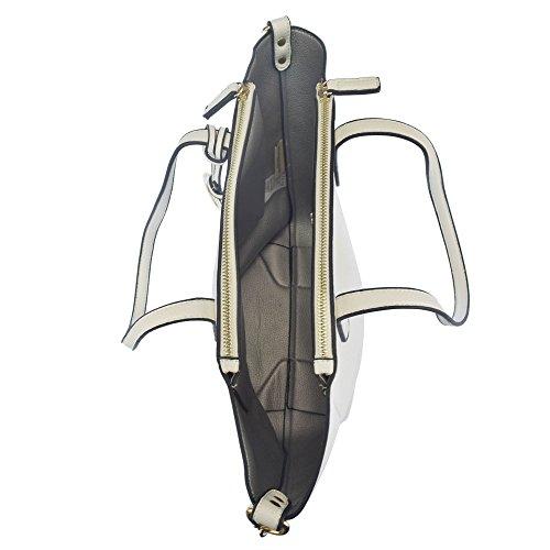 U.S.POLO ASSN. Borsa a mano, manici ampi, con tracolla 22-42x12x30 cm Bianco - Argento