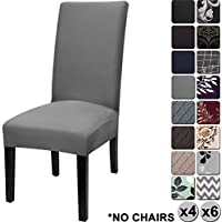 YISUN Modern Stretch Dining Chair Covers Removable Washable Spandex Slipcovers for High Chairs 4/6 PCs Chair Protective Covers (Dark Grey/Solid Pattern, 4 PCS)