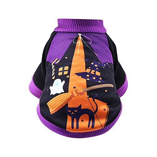 Kostüm Rave Katze - ZQEU Halloween-T-Shirt, Kürbis-Kostüme, Haustier-Kleidung, lustiges T-Shirt für kleine Hunde und Katzen, Halloween, Cosplay, Urlaub, Festival, Party, schwarz/lila, S