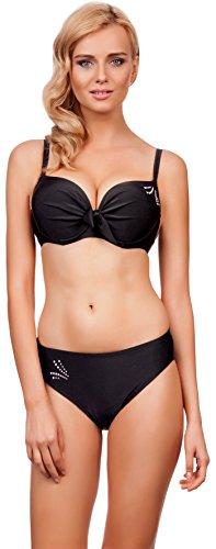 Lorin Damen Bikini Suzana 5184 (Cup 75 G / Unterteil 38, Schwarz) (Geraffte Mieder Kleid)