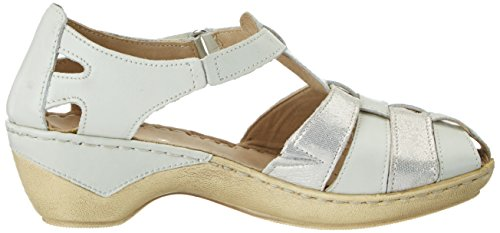 Caprice 24551, Sandales Bout Ouvert Femme Blanc (Offwhite Na.co)