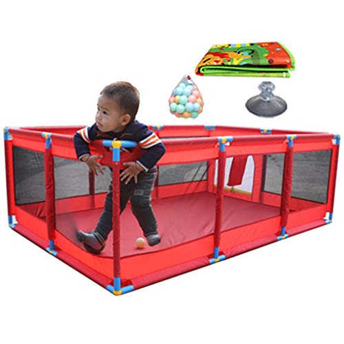 Baby-Laufstall für Mädchen Jungen 8-Panel, rot große Sicherheit Spiel Center Hof mit Matte und Kugeln, Oxford Tuch (größe : 128×190×66cm)