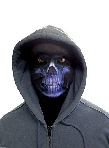 Wild Star Hearts - GRIM REAPER - Blau Lycra Gesichtsmaske (Grim Reaper Maske Für Erwachsene)