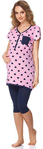 Bellivalini Damen Umstands Pyjama mit Stillfunktion BLV50-126 (Rosa Herzen/Navy, M) (Frühjahr-sommer-pyjama)