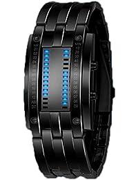 Highdas Impermeable De Alto Grado De Acero De Tungsteno Pareja Doble Reloj LED Binary Negro/S