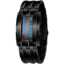 Highdas Impermeable De Alto Grado De Acero De Tungsteno Pareja Doble Reloj LED Binary Negro/L
