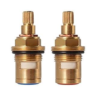 Replacement Brass Pair Ceramic Stem Disc Cartridge Mixer Hot and Cold Tap Inner Faucet Bathroom Basin Valve Quarter Turn G1/2