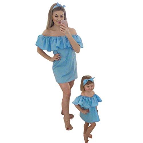 Bekleidung Longra Familie Mama und ich Baby Mädchen aus Schulter Sommer Prinzessin Kleid Kinder Kleid mit Familie Freizeitkleidung Beiläufig Kleider (M/36 (Mom), (Katze Im Mütze Kleinkind Hut Kostüm)