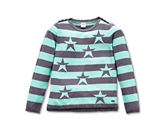 s.Oliver Pull-over Col ras du cou Manches longues Fille - Gris - Grau (95X0) - FR : 6 ans (Taille fabricant : 116/122)