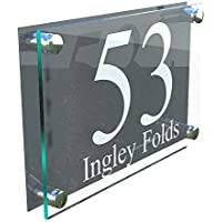 LARGE A4 Modern Perspex Steel Aluminium Perspex Acrylic House Number Wall Plaque Sign
