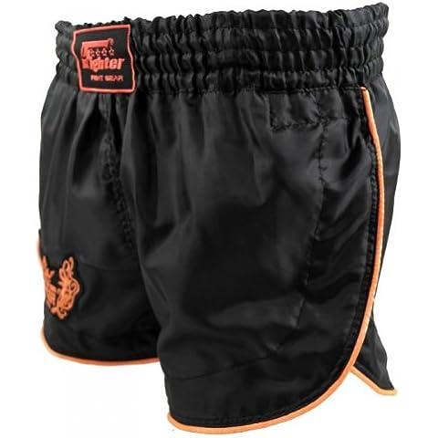 4Fighter Retro Shorts Muay Thai / pantaloni kickbox nero con contori arancione, Taille:M - Muay Thai Kickbox Shorts