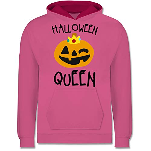 Shirtracer Anlässe Kinder - Halloween Queen Kostüm - 9-11 Jahre (140) - Rosa/Fuchsia - JH003K - Kinder Kontrast Hoodie (Scream Queens Halloween)