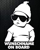 HR-WERBEDESIGN 1x Aufkleber Wunschname ON Board Sticker Hangover Baby Auto Kind fährt mit FUNmy