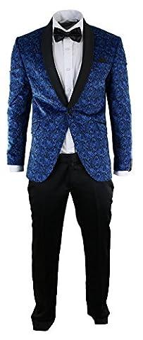Mens Slim Fit Velvet Paisley Blazer & Trouser Tuxedo Dinner Suit Royal Blue Black