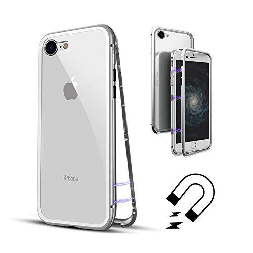 LINCIVIUS  Coque Integrale Compatible avec Apple iPhone 8, Coque de Protection 2 en 1 Aluminium et Verre Trempe Avant Et Arrière Contour Bumper Rigide pour Apple iPhone 8, Gris
