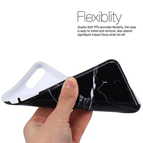 Coque iPhone 7, Coque iPhone 8, JIAXIUFEN Silicone TPU Étui Housse Souple Antichoc Protecteur Cover Case - Noir Or Marbre Désign Noir Blanc