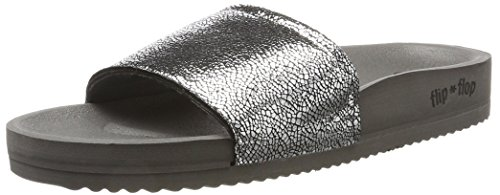 flip*flop Damen Pool metallic Cracked Offene Sandalen, Grau (Steel), 39 EU