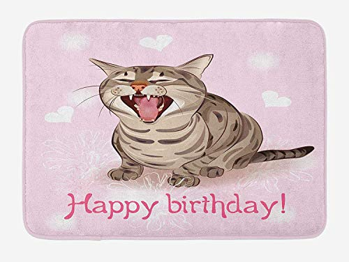 Birthday Bath Mat, Funny Cat Sings a Greeting Song on Pink Color Backdrop with Hearts Flowers, Plush Bathroom Decor Mat with Non Slip Backing, 23.6 W X 15.7 W Inches, Baby Pink Brown (Halloween Popular Songs)