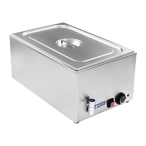 Royal Catering RCBM-1/1-150A-GN Bain Marie Wasserbad Speisenwärmer Buffetwärmer (1200 W, 50–95 °C, Ablasshahn, GN 1/1 Behälter mit Deckel, 56 x 33,5 x 24,5 cm, Edelstahl)