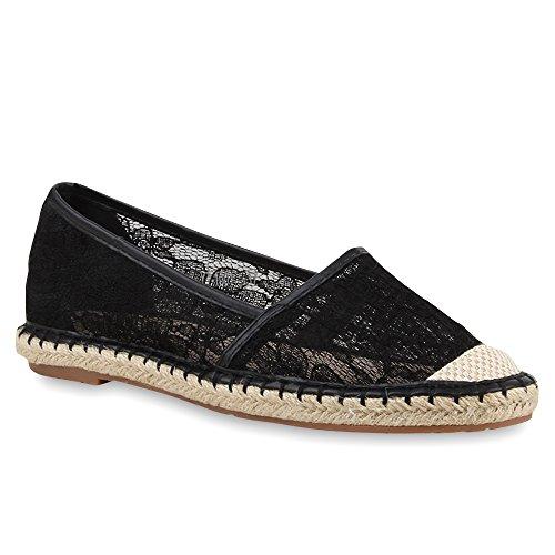 stiefelparadies Modische Damen Bast Slipper Metallic Espadrilles Ethno Look Schuhe 68886 Schwarz Spitze 39 Flandell