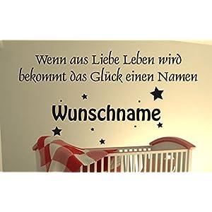 DD Dotzler Design - Wandtattoo Baby - Wenn aus Liebe Leben wird bekommt das Glück einen Namen - Wunschname Geburtstdatum Wunschtext Wallsticker Wanddekor