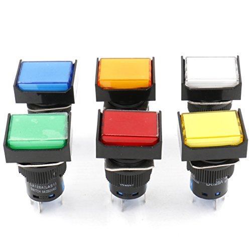 heschen 16mm Rechteck Latching Push Button Switch 1NO 1NC rot blau gelb weiß grün orange 12V LED Lampe -