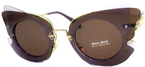 Miu Miu Damen 0MU02SS VA68C1 63 Sonnenbrille, Gelb (Lilac/Yellow/Brown),