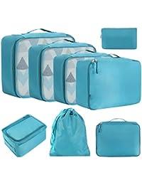 Eono by Amazon - 8 Set Cubos de Embalaje, Organizadores para Maletas, Travel Packing Cubes, Equipaje de Viaje Organizadores, con Bolsa de Zapatos, Bolsa de Cosméticos y Bolsa de Lavandería