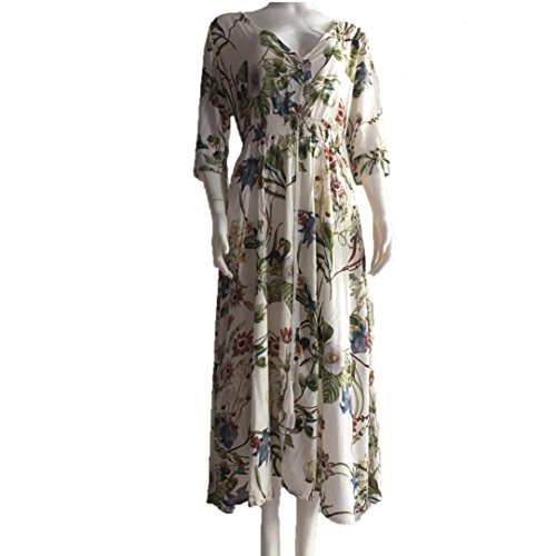 Tefamore Damen Lange Maxi Kurz Ärmeln Kleid, V-Hals Floral Print Beach Party Dress Weiß