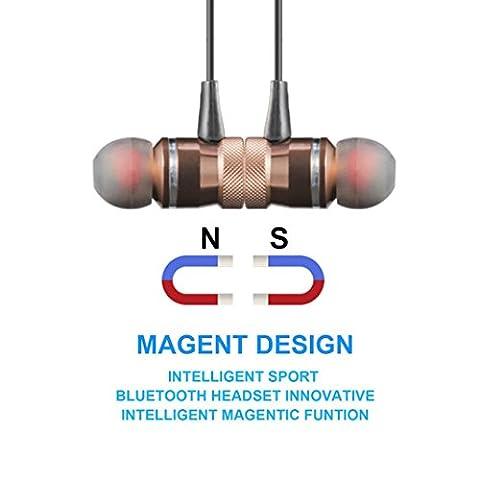 Omiky® Metall-Magnet Wireless Bluetooth Kopfhörer Headset Kopfhörer für iPhone Samsung (Gold)
