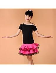 DESY Tenue(Bleu / Fuchsia / Vert / Jaune,Elasthanne,Danse latine)Danse latine- pourEnfant Plissé Spectacle Danse latine Taille moyenne , m