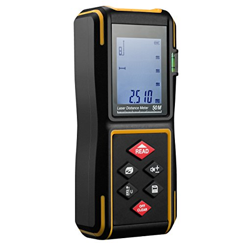 Preisvergleich Produktbild TopElek 50M Laser-Entfernungsmesser 164FT (Messbereich 0,05-50m / ± 2mm) Distanzmessgerät mit LCD Hintergrundbeleuchtung und Einige Maßeinheiten (m/in/ft), inkl.Batterie und Schutztasche.