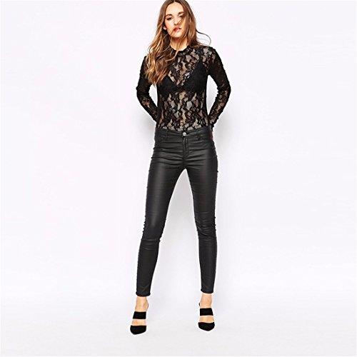 Support Femmes Sexy Black Lace Perspective Manches Longues Barboteuses Collor Slim Jumpsiut Noir