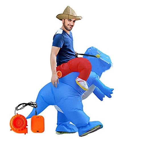 ASKEN Männer Frauen Aufblasbare Dinosaurier Kostüme Halloween Karneval Ridding Huckepack Drachen Cosplay Outfit Blau Adult Size