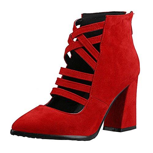 YE Damen Spitze High Heels Wildleder Cut Out Pumps mit Blockabsatz und Reißverschluss 8cm Absatz Schuhe Rot