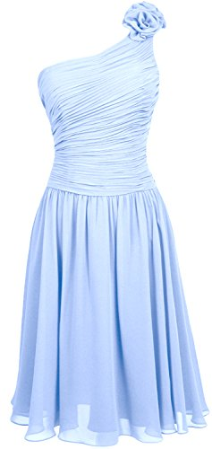 MACloth Women Short Bridesmaid Dress One Shoulder Wedding Cocktail Party Gown Sky Blue