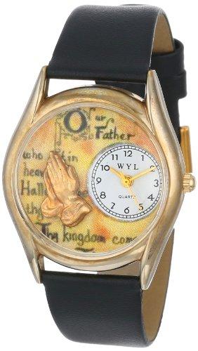 Drollige Uhren Lord's Prayer ', Schwarz und goldfarben Unisex Quartz-Uhr mit weißem Zifferblatt Analog-Anzeige und C-0710010 Mehrfarbige Lederband