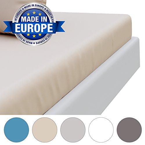 Drap Housse Microfibre (100% Polyester) - sans Produits Chimiques et Fabriqué en Europe (Garantie 2 Ans) - Draps Housse Matelas Epais, 4 Coins Elastiques, Housse de Lit