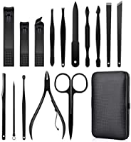 MQFORU 15 in 1 Professional Pedicure Manicure Set, Cuticle Nail Cutter Set, Stainless Steel Nail Scissors High Quality Nail