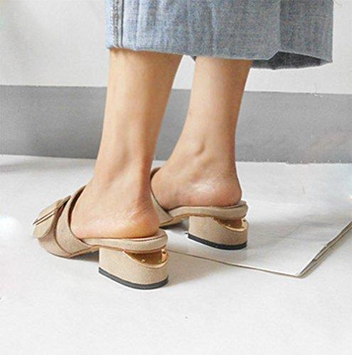Dick mit weiblichen Pantoffeln Sommer Sandalen Frauen apricot