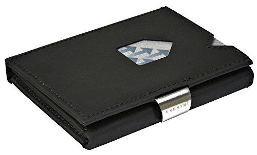 EXENTRI Wallet Geldbörse für bis zu 12 Kreditkarten Leder Börse (Nubuck Black EX019 (Nubuck Schwarz)) Mens Wallets Kreditkarten