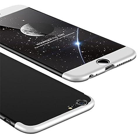 iPhone 6 Hülle, Aostar 3 in 1 Ultra Dünner PC Harte Case 360 Grad Ganzkörper Schützend Handyhülle Case Cover Bumper Schutzhülle Vollschutz Schale für iPhone 6/6s (iPhone 6/6s, Silber Schwarz)