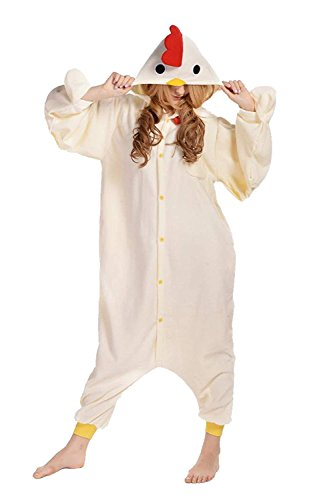 sex Jumpsuit Tier Cartoon Fasching Halloween Pyjama Kostüm Onesie Fleece-Overall Schlafanzug Weiß Huhn Small ()