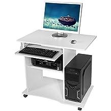 Harima - Mesa Esquinera para Ordenador Mueble Torre Escritorio Oficina Mackinac Profesional en color Blanco con estante extraíble para el teclado Inicio PC de escritorio