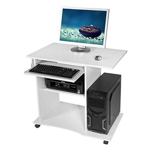 Harima – Mackinac Professioneller Weiß Computerwagen Computertisch Bürotisch PC Tisch Druckerablage Büromöbel Mit Ausziehbarer Tastaturablage Heim-PC Desktop