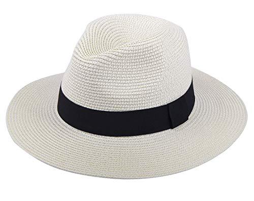 DRESHOW Damen Breiter Krempe Stroh Sommer Panama aufrollen Hut Fedora Strand Sonnenhut UPF50 + Panama Fedora