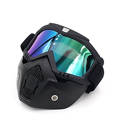Gzq occhiali da moto con maschera staccabile, casco di sicurezza UV400 antivento e antipolvere per motocross, moto equitazione e sport all'aria aperta, Colorful