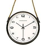 Reloj de pared simple de madera maciza Estilo nórdico creativo personalidad de reloj de pared reloj de mesa moderno reloj de pared mudo salón de la cuerda cuerda cordel reloj de metal 12 pulgadas