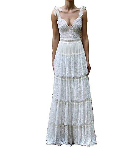 VIKEBRIDAL Damen V-Ausschnitt Rückenfrei Neu Spitze Mehrschichtig Hochzeitskleid Elfenbein 46