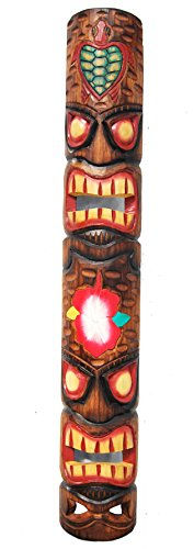 Tiki-pared-Mscara-en-Totem-Look-en-madera-de-Tiki-Hawaii-Style-en-100-cm-de-largo-con-diseo-de-tortuga